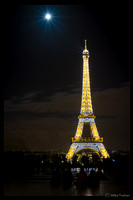 Moon over the Eiffel Tower